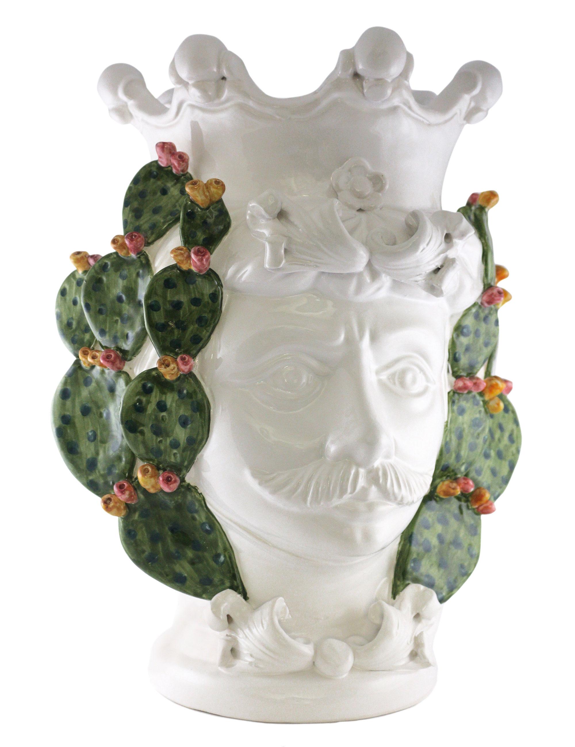testa di moro Gaspare decorazione fichi d'india laterale