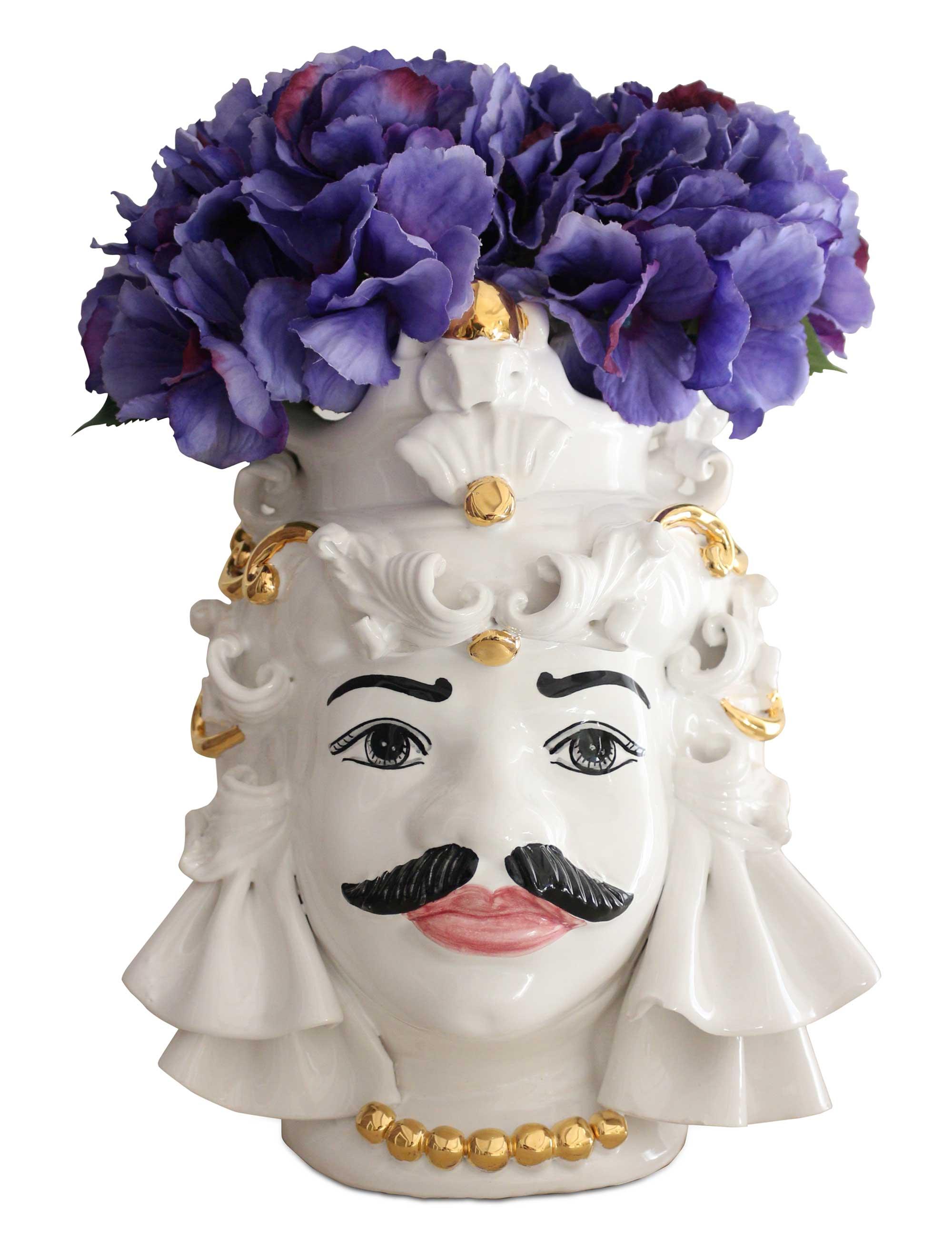 testa di moro media Mimmo decorazioni oro e fiori viola