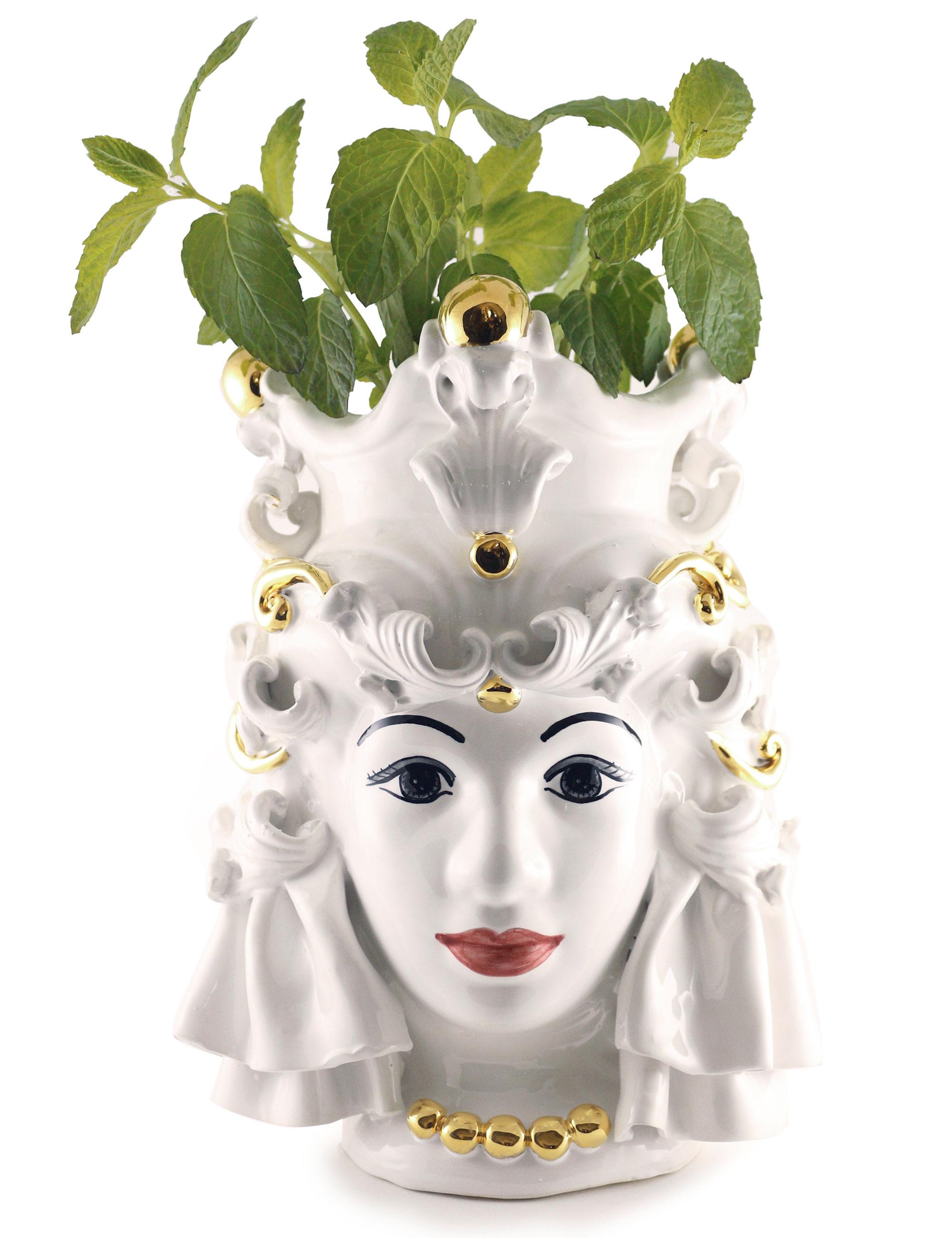 testa di moro media Nora decorazione oro e basilico