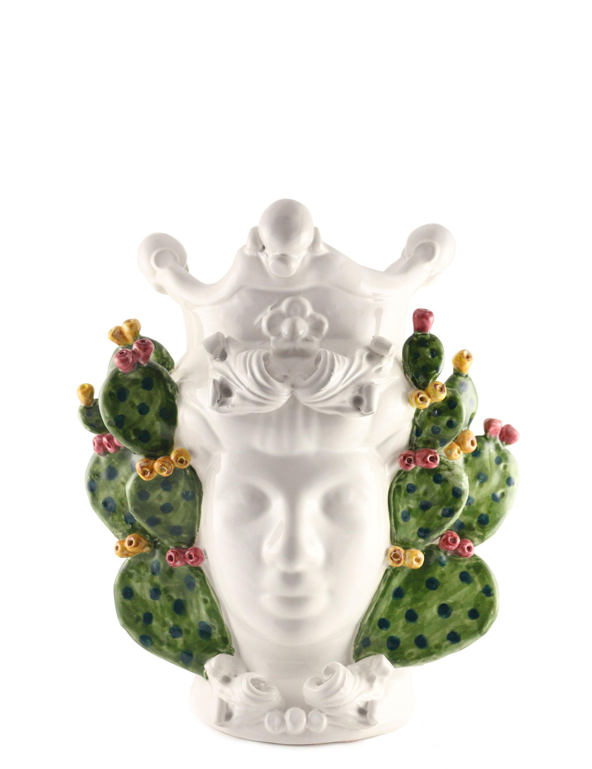 testa di moro dimensione media Titti con decorazione fichi d'india