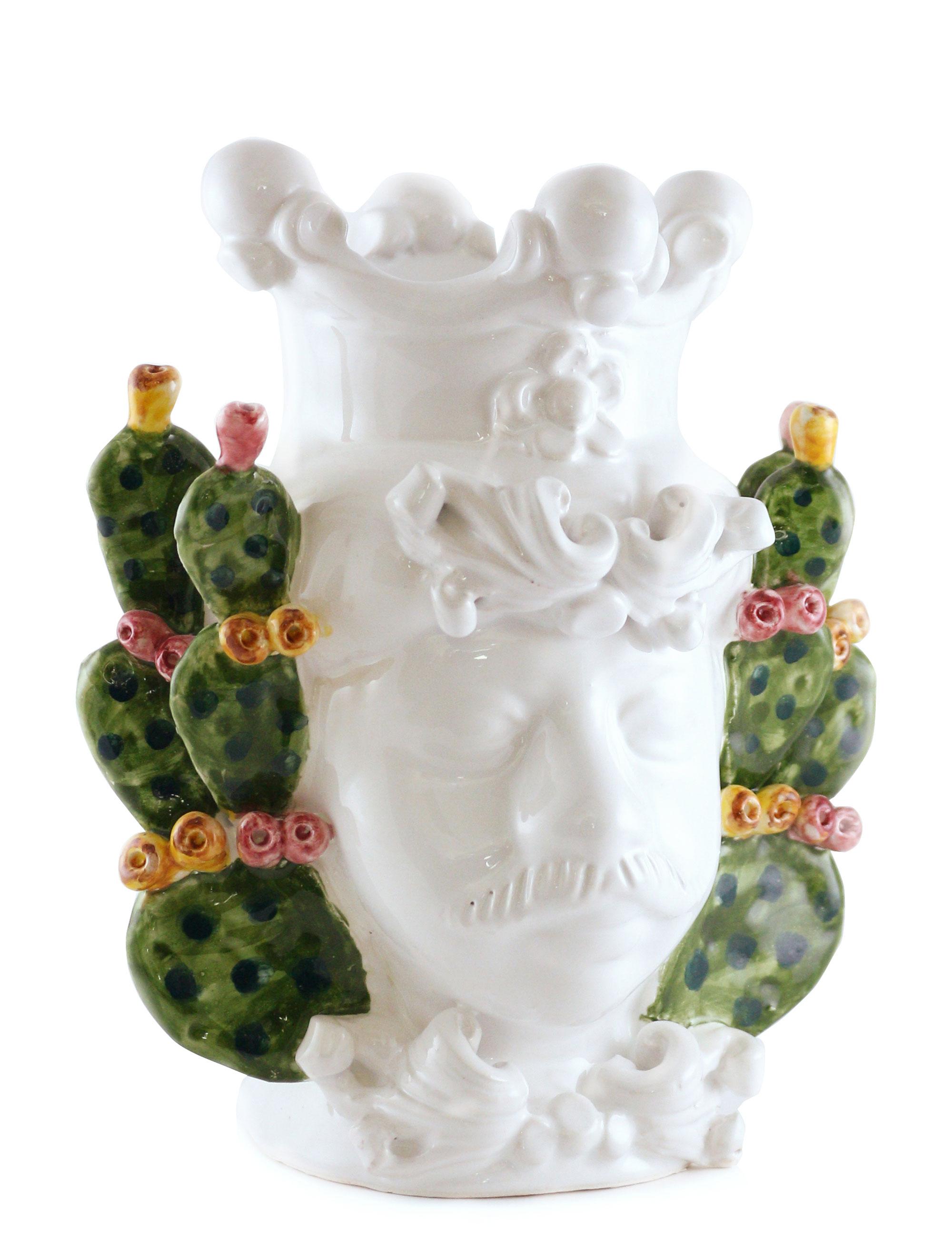 testa di moro Gaspare dimensione piccola in ceramica di Caltagirone con decorazione fichi d'india vista laterale