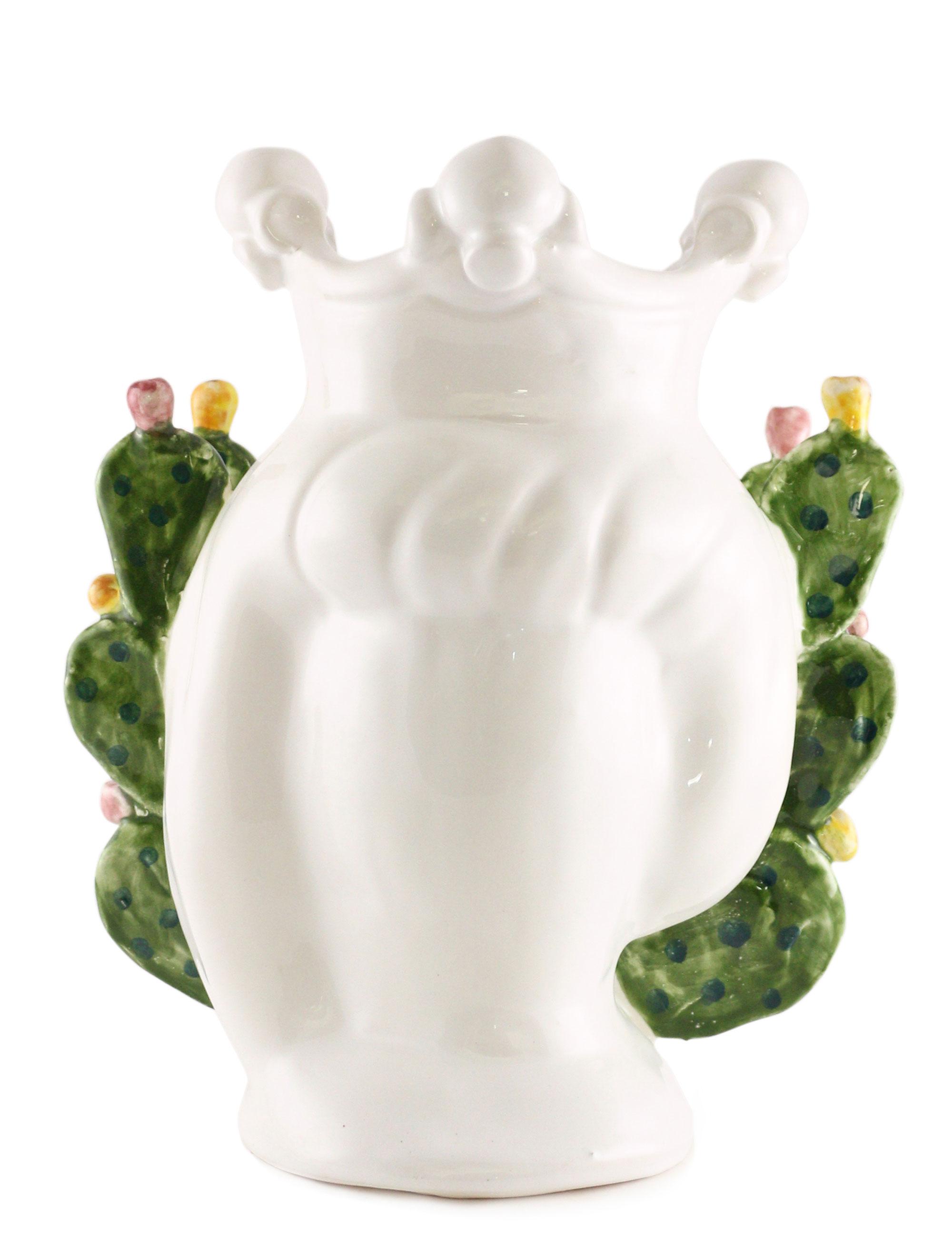 testa di moro Gaspare dimensione piccola in ceramica di Caltagirone con decorazione fichi d'india vista posteriore