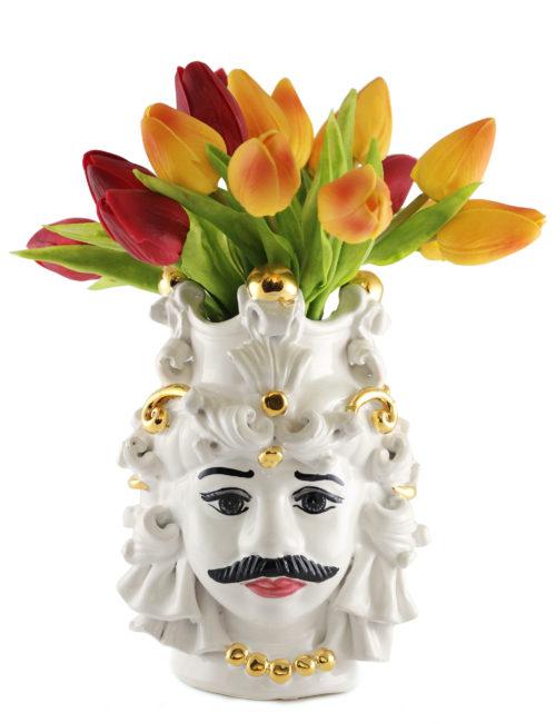 testa di moro Mimmo piccola tulipani e decorazioni oro