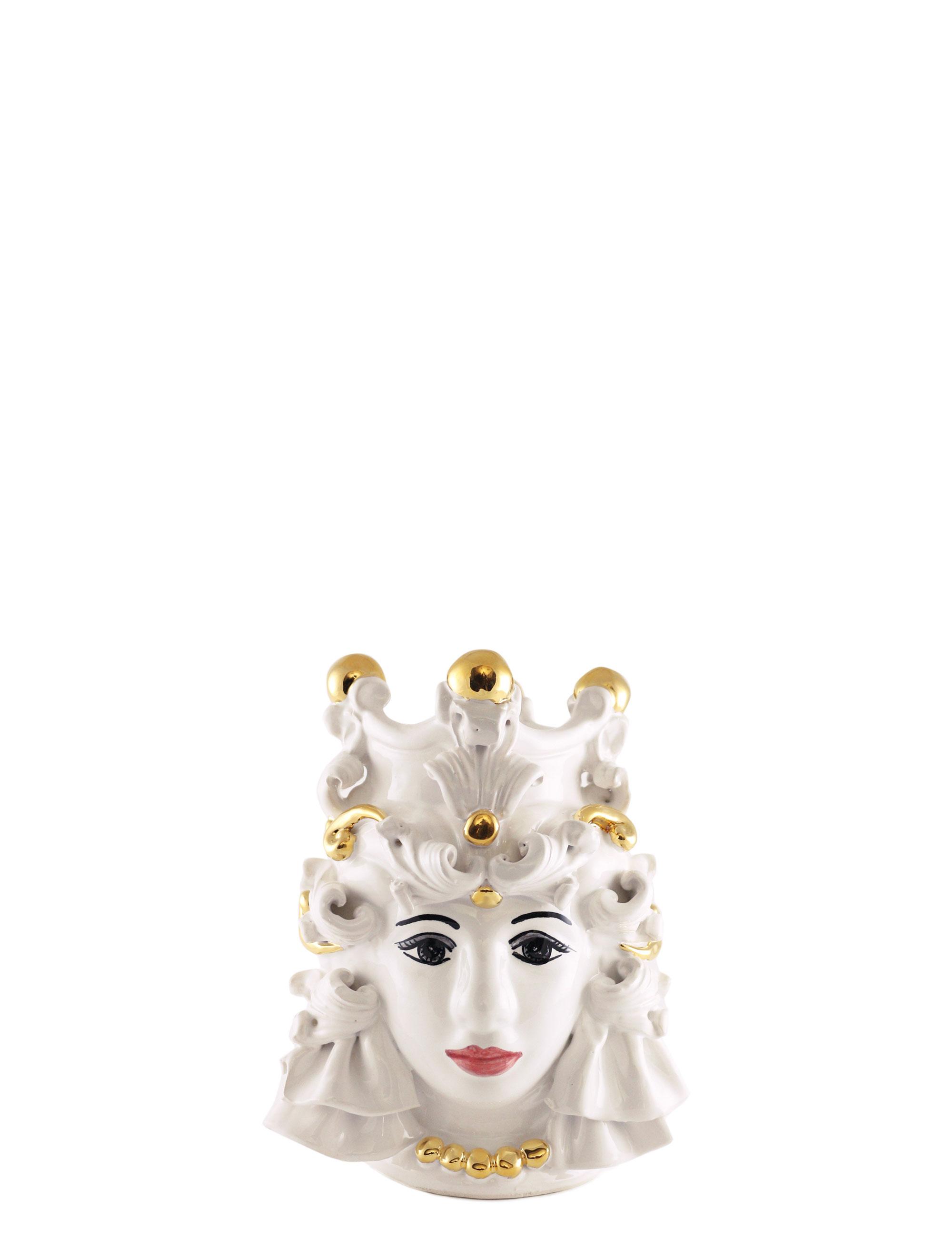 testa di moro piccola Nora decorazioni oro ceramica siciliana artigianale