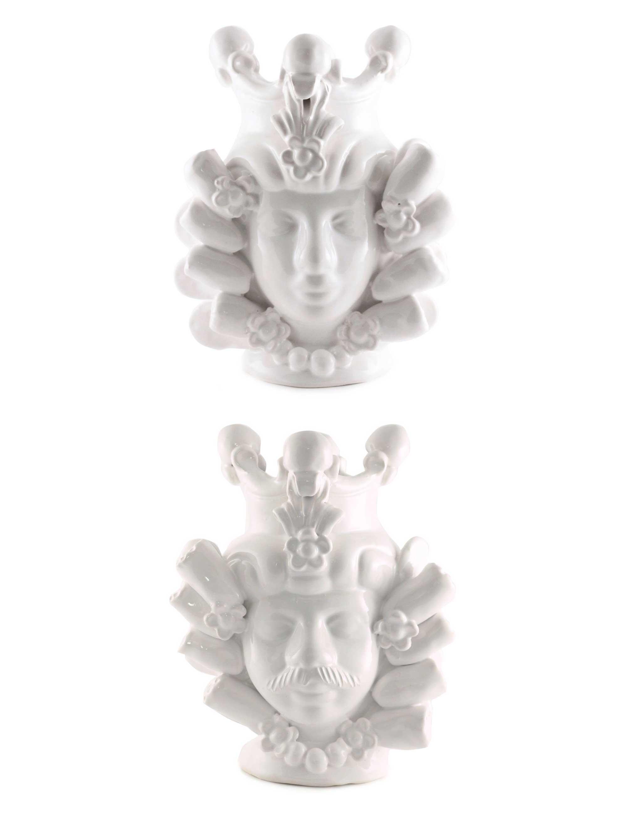 Coppia teste di moro piccole Bettina e Onofrio smalto bianco ceramica caltagirone