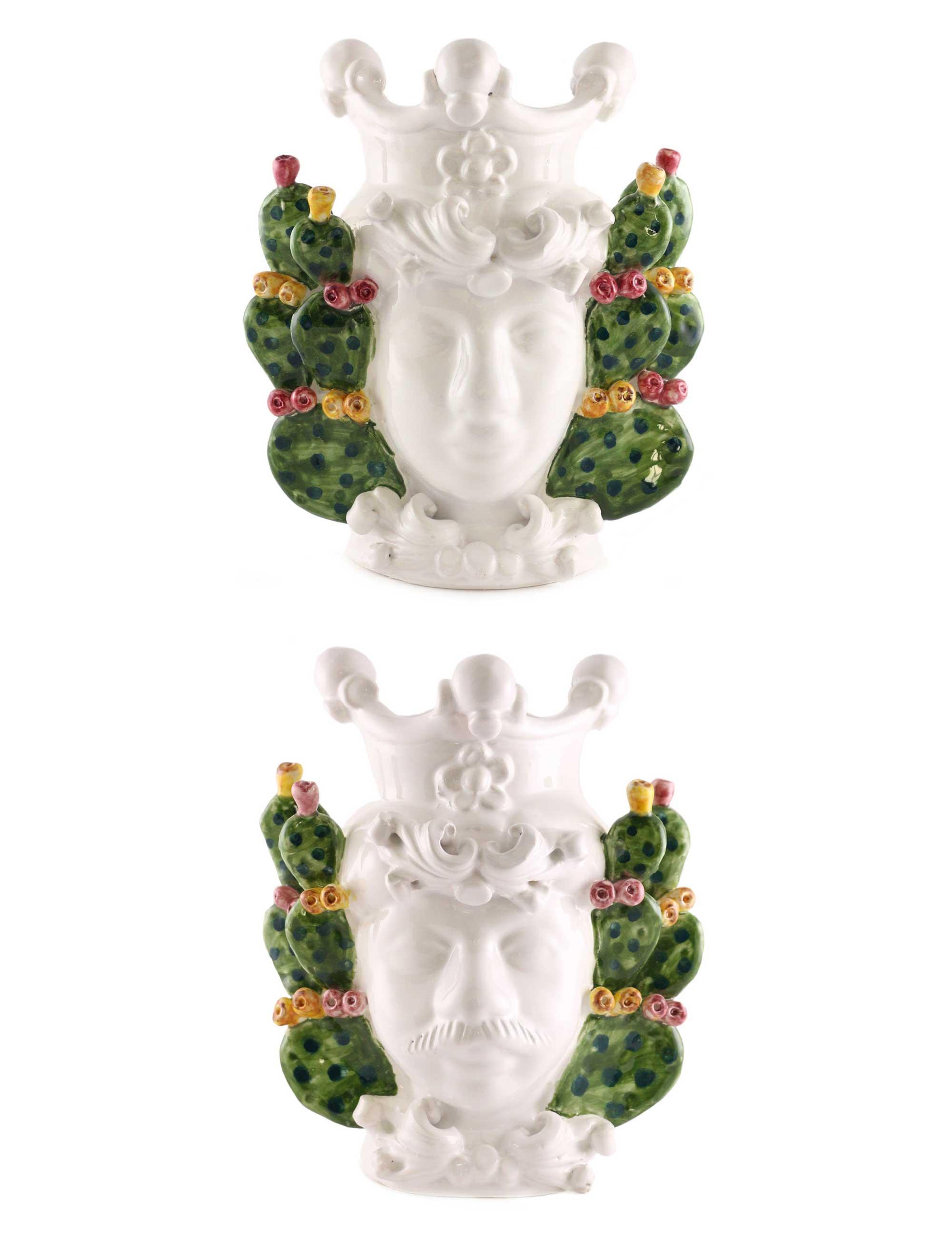 Coppia teste di moro piccole Titti e Gaspare decorazione pale fichi india ceramica caltagirone