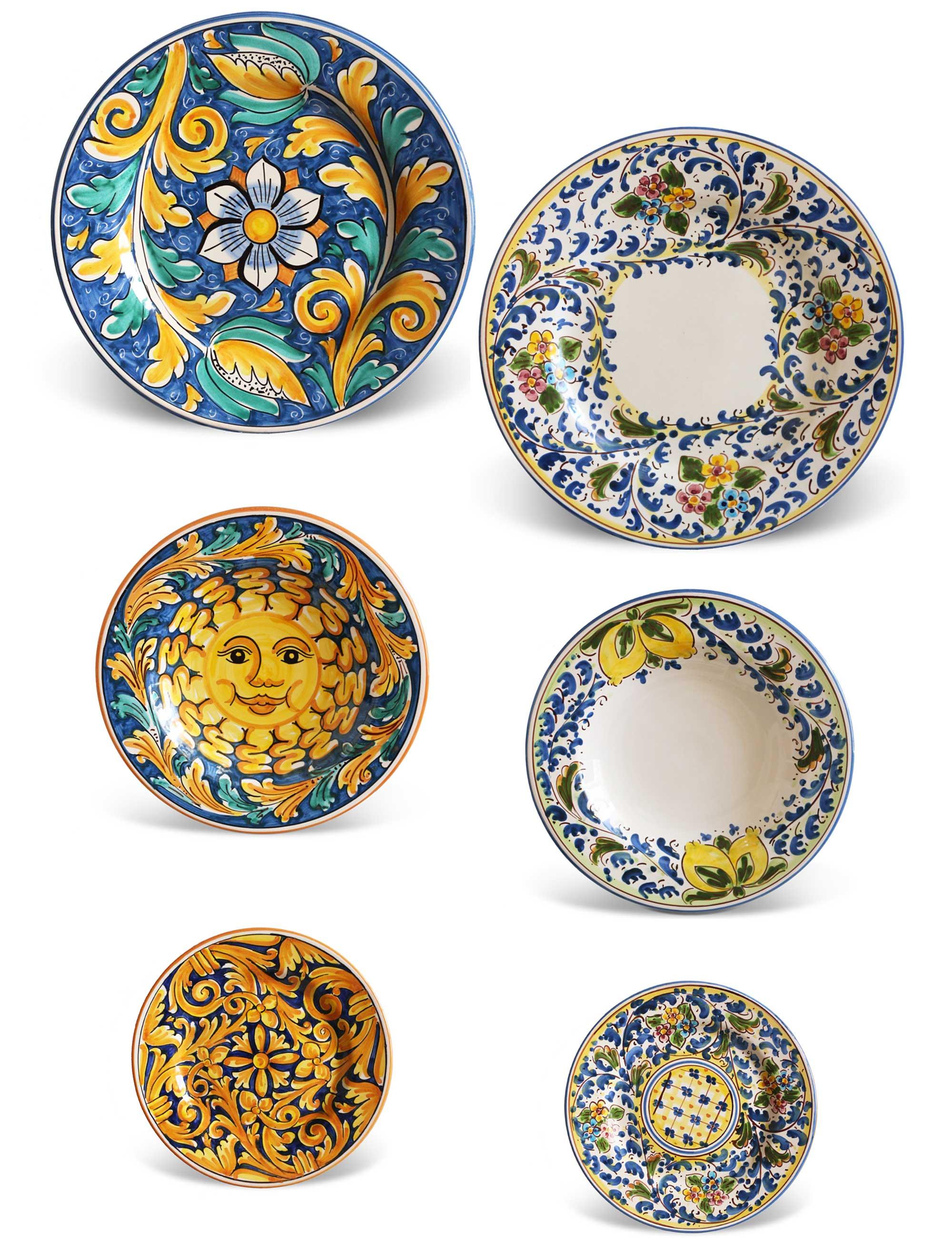 artisan sicilian plates tablewear set two people Suli  sc 1 st  Ceramiche Caltagirone Maremoro & Sicilian artisan plates | Set SULI | Maremoro Caltagirone Ceramics
