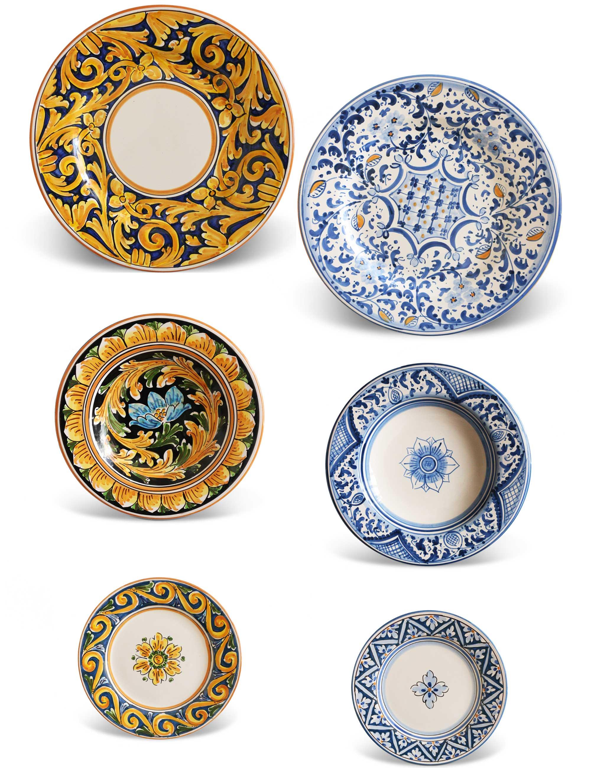 piatti siciliani decorati set due persone Ventu