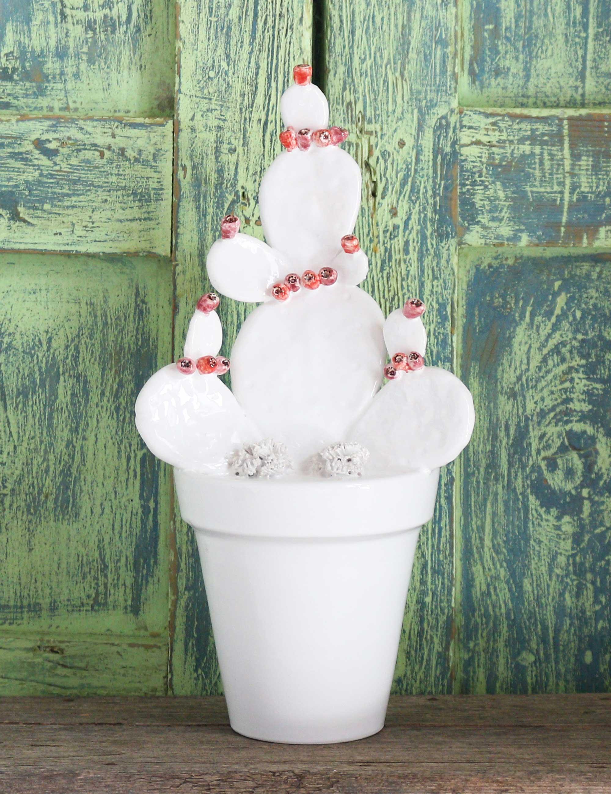 vaso fico india ceramica caltagirone smalto bianco maremoro