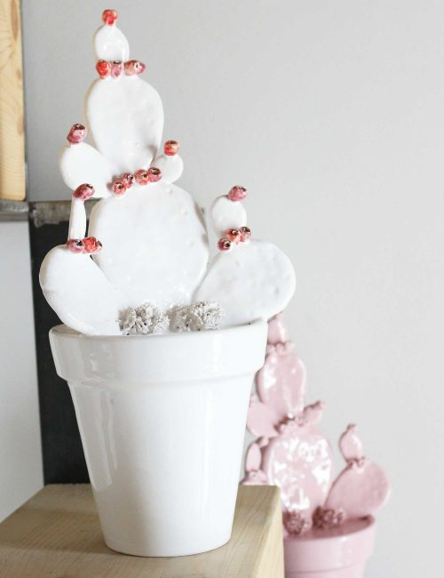 Sicilian ceramic vase Prickly pear White