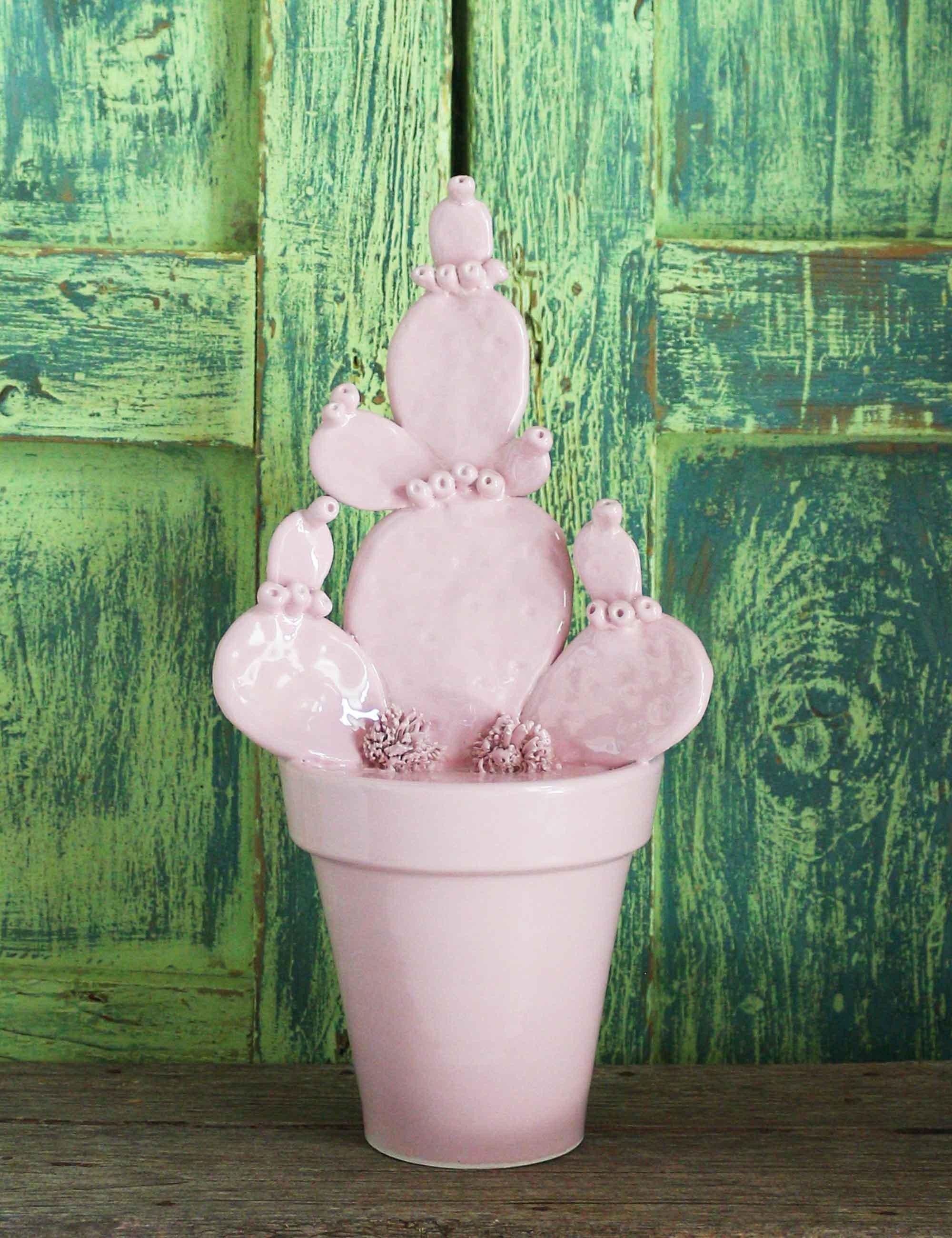 Fico d'India vaso per arredamento moderno ceramica di Caltagirone maremoro