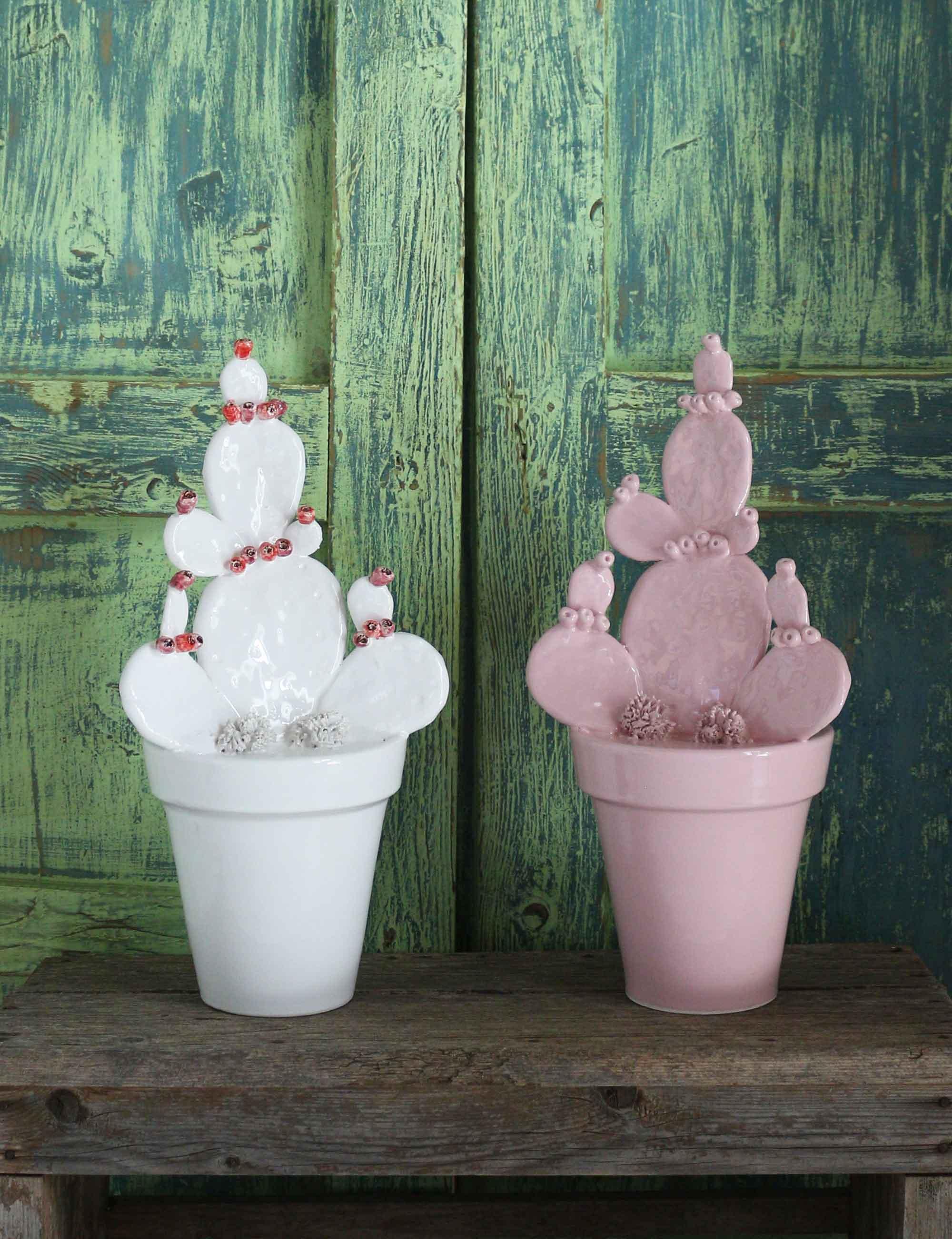 Vasi ceramica tradizionale siciliana complementi d'arredo moderni decorazioni fichi d'India