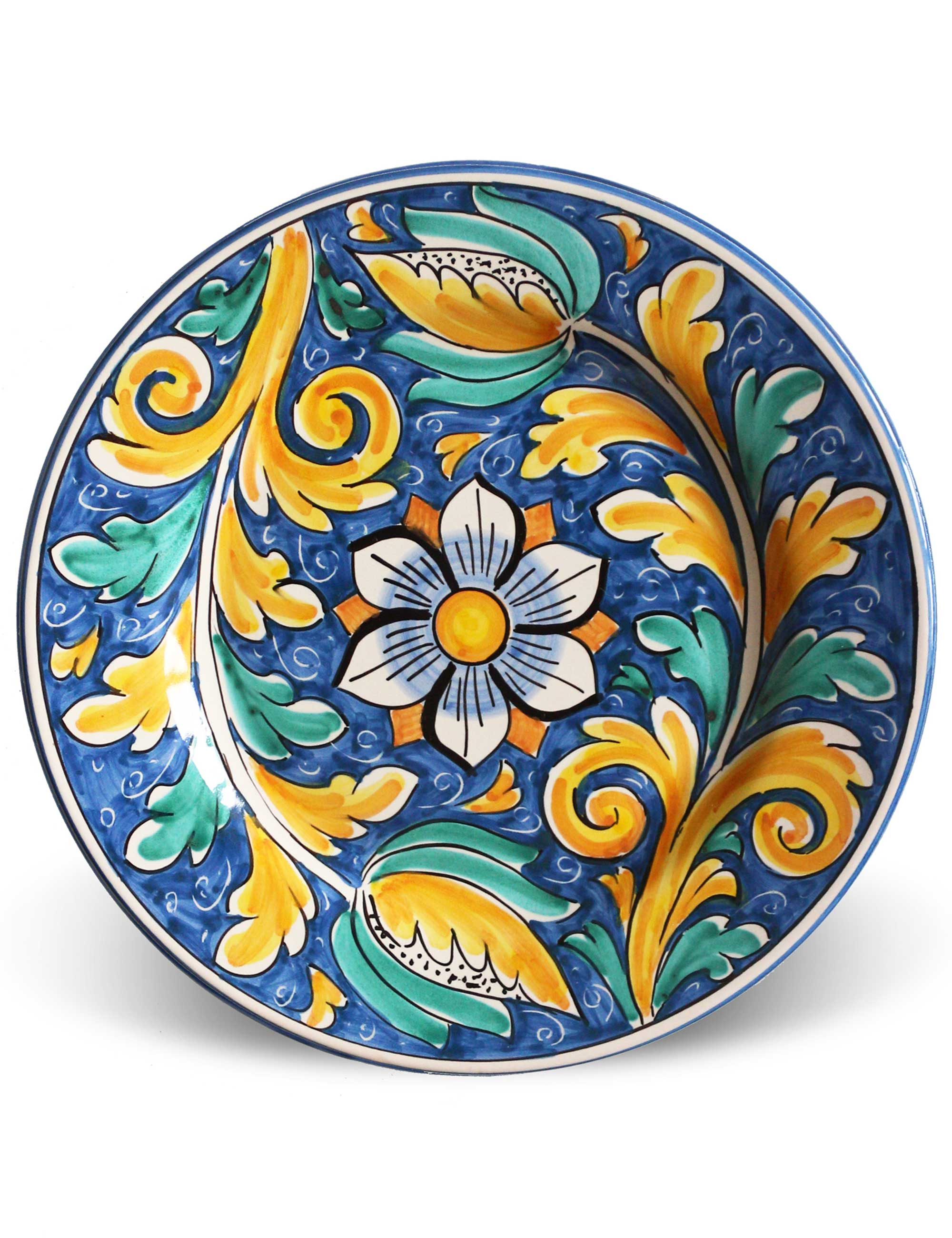Piatto piano ceramica artigianale siciliana mondello for Piatti decorati