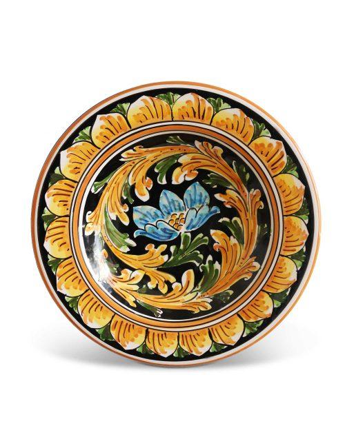 Piatto fondo ceramica siciliana decorata NOTO
