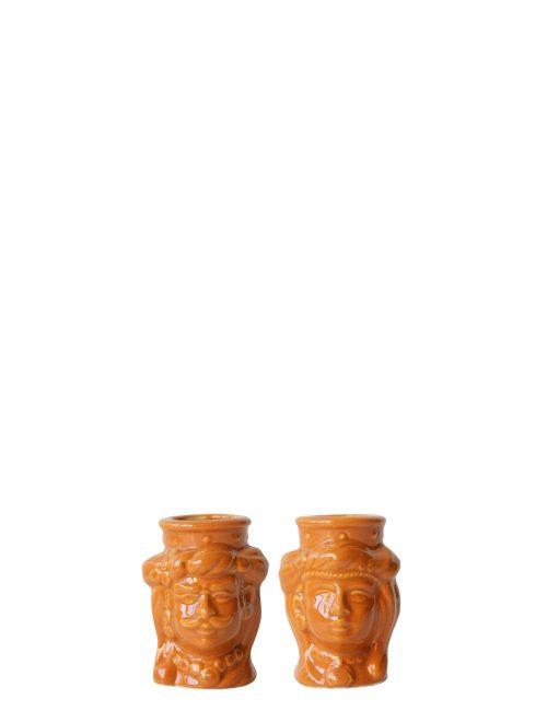 coppia teste di moro mignon arancioni ceramica siciliana caltagirone