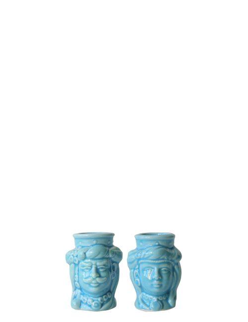 coppia teste di moro mignon azzurre ceramica caltagirone