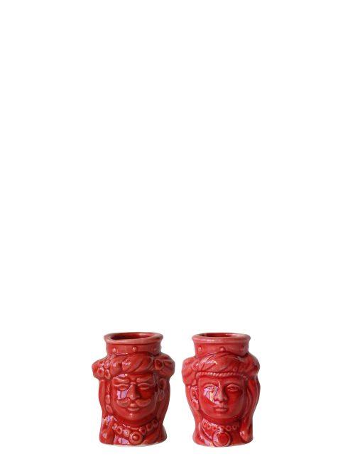 coppia teste di moro mignon rosse ceramica siciliana