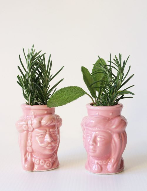 teste di moro mignon rosa ceramica caltagirone