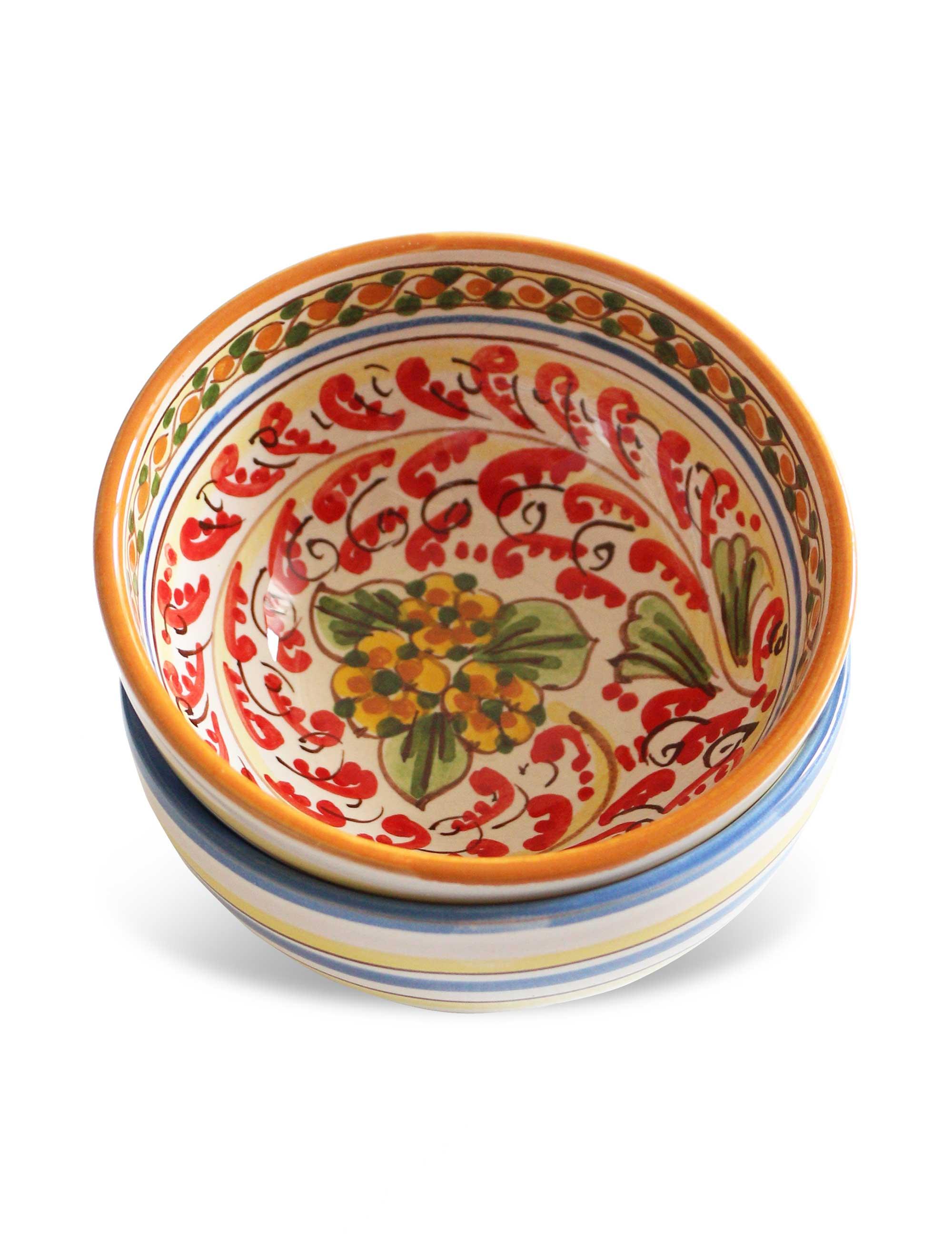 coppa ceramica caltagirone decorata ideale per frutta tapas aperitivi taralli patatine