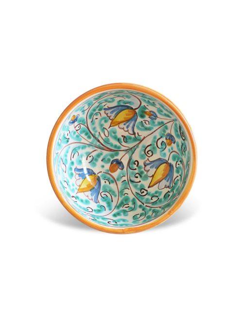 COPPA CERAMICA DECORATA SICILIANA - CASTELMOLA diametro 12cm finitura smaltata colorata con decori siciliani