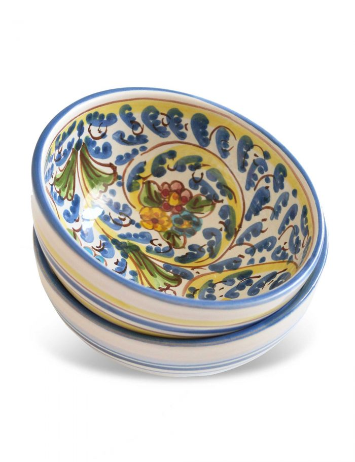 coppa ceramica decorata siciliana Gangi per zuppa colazione macedonia
