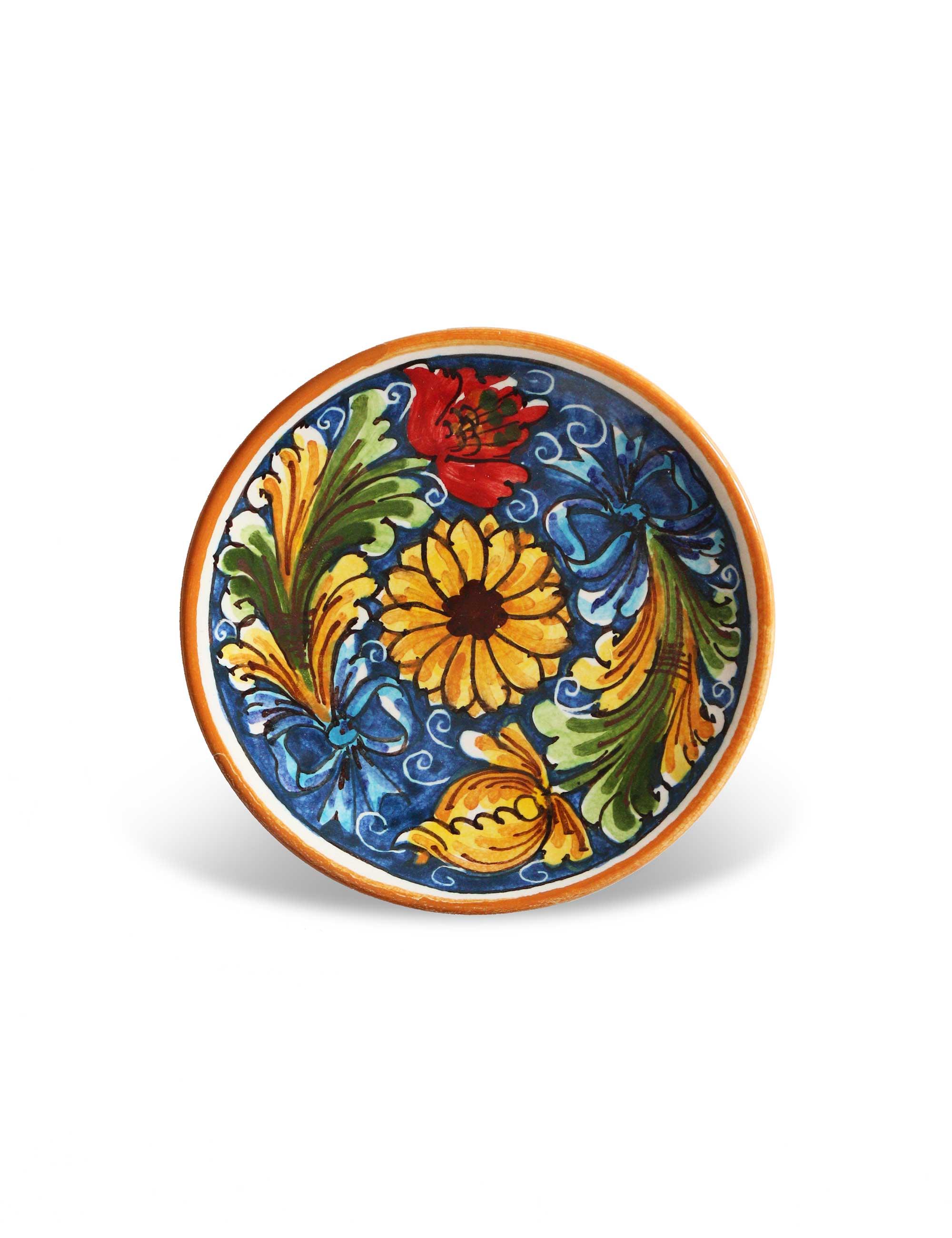 Piatti Ceramica Di Caltagirone.Piattino Ceramica Di Caltagirone Leni Maremoro Ceramiche Siciliane