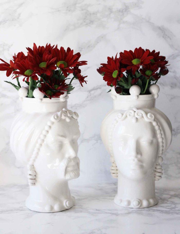 Teste di moro colore bianco in ceramica di Caltagirone