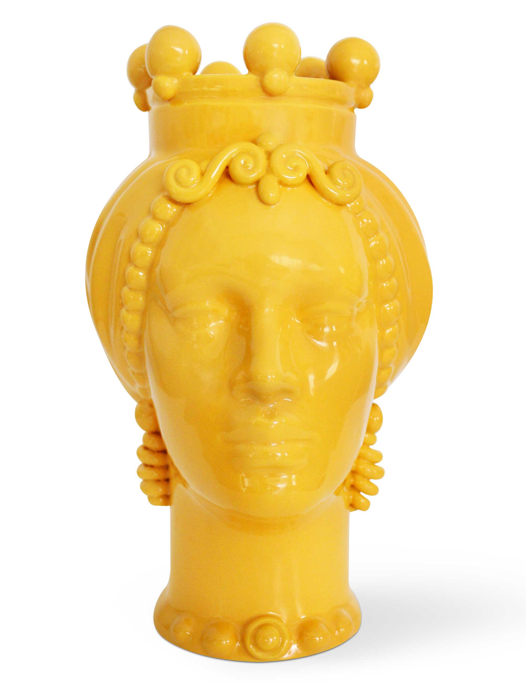 testa di moro donna ceramica siciliana media colore giallo