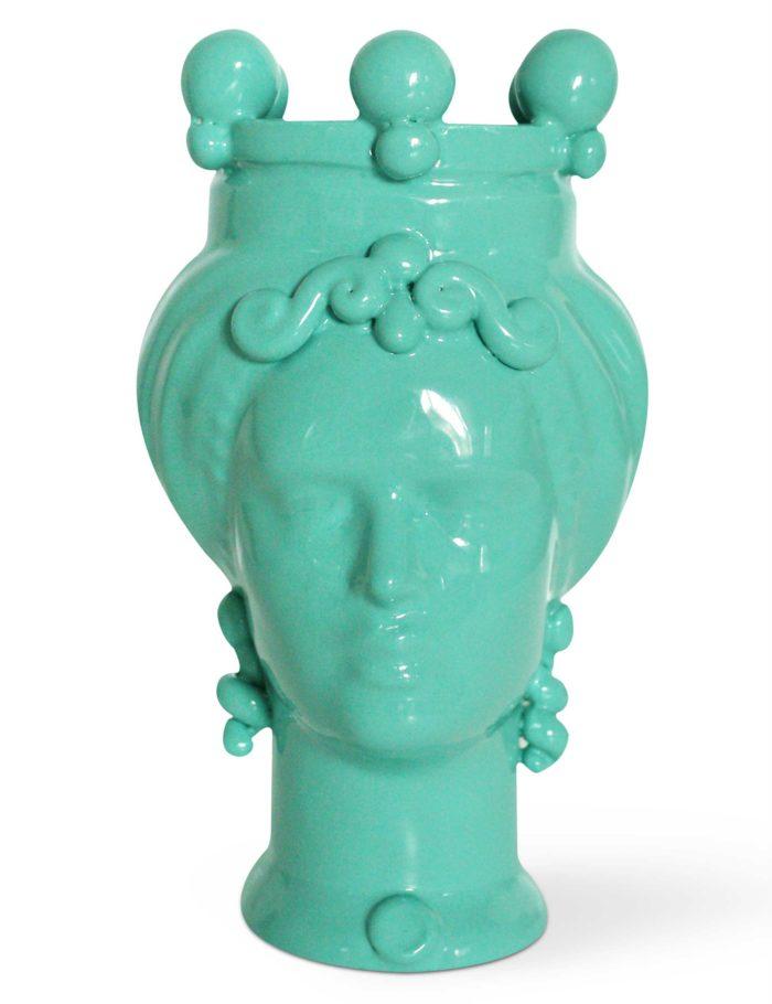 testa di moro donna colore verde acqua ceramica siciliana
