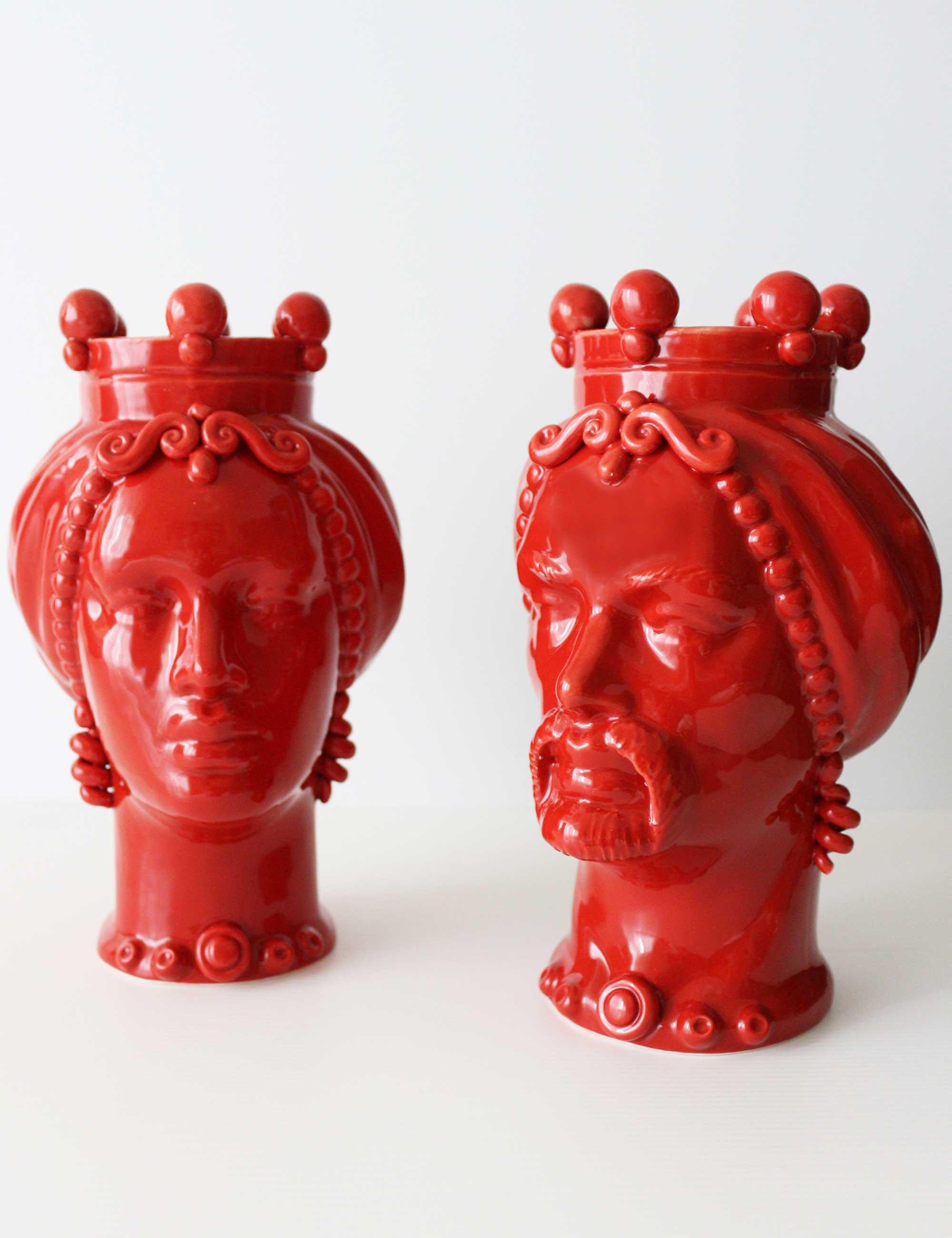 teste di moro colorate rosso ceramica siciliana
