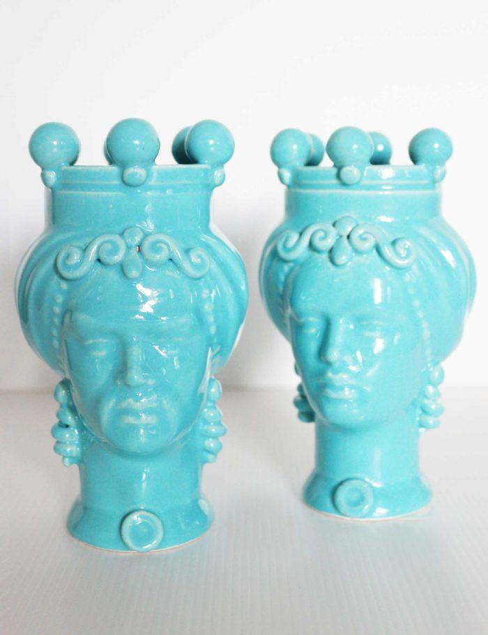 teste di moro piccole colorate azzurro ceramica siciliana