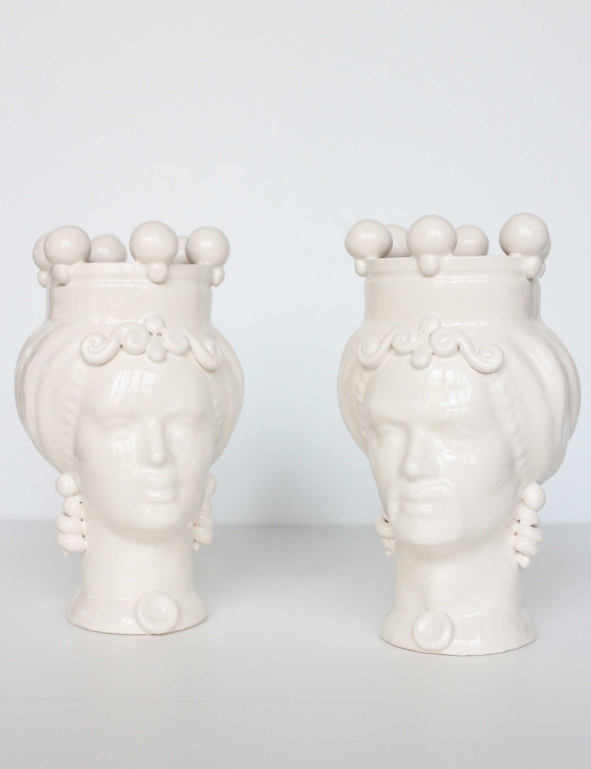teste di moro piccole colorate bianco ceramica siciliana