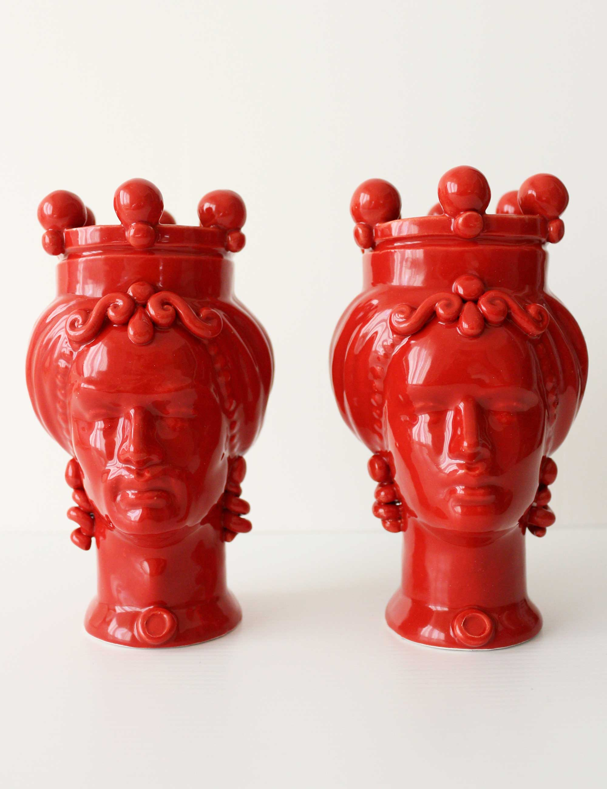 teste di moro piccole colorate rosso ceramica siciliana