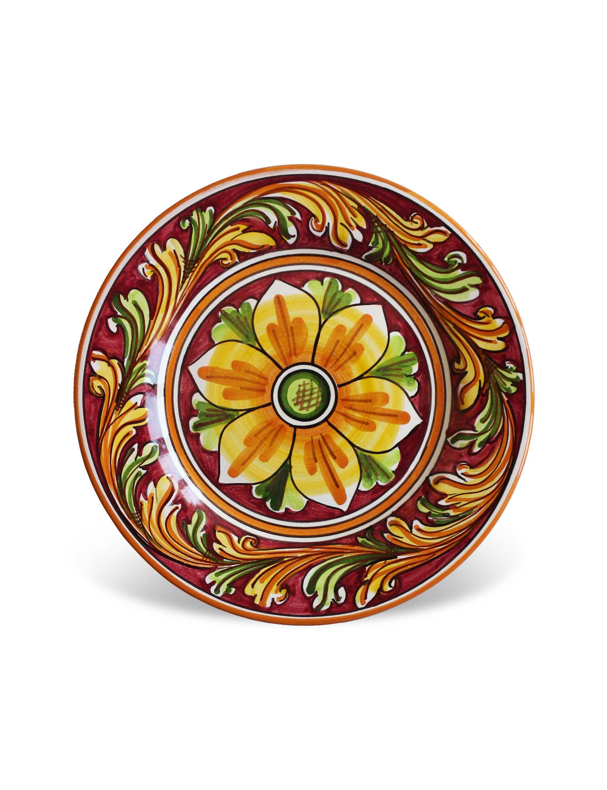 piatto dessert ceramica artigianale decorata Giarratana