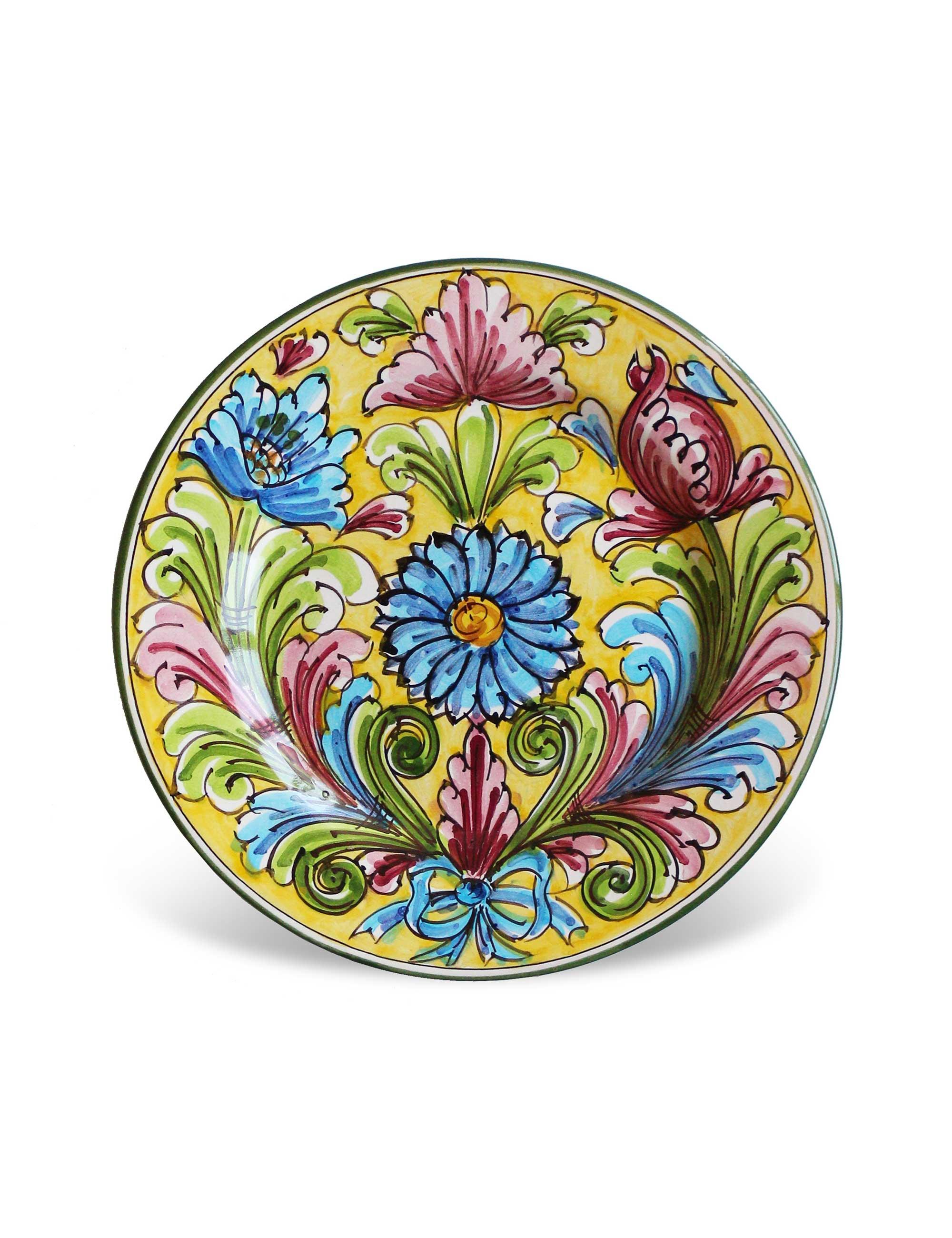 piatto dessert ceramica decorata siciliana Sortino