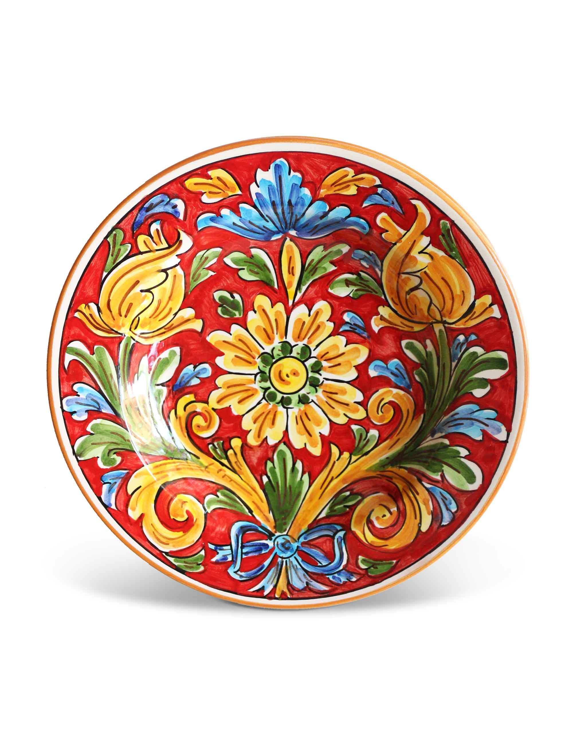 piatto fondo ceramica siciliana artigianale camastra