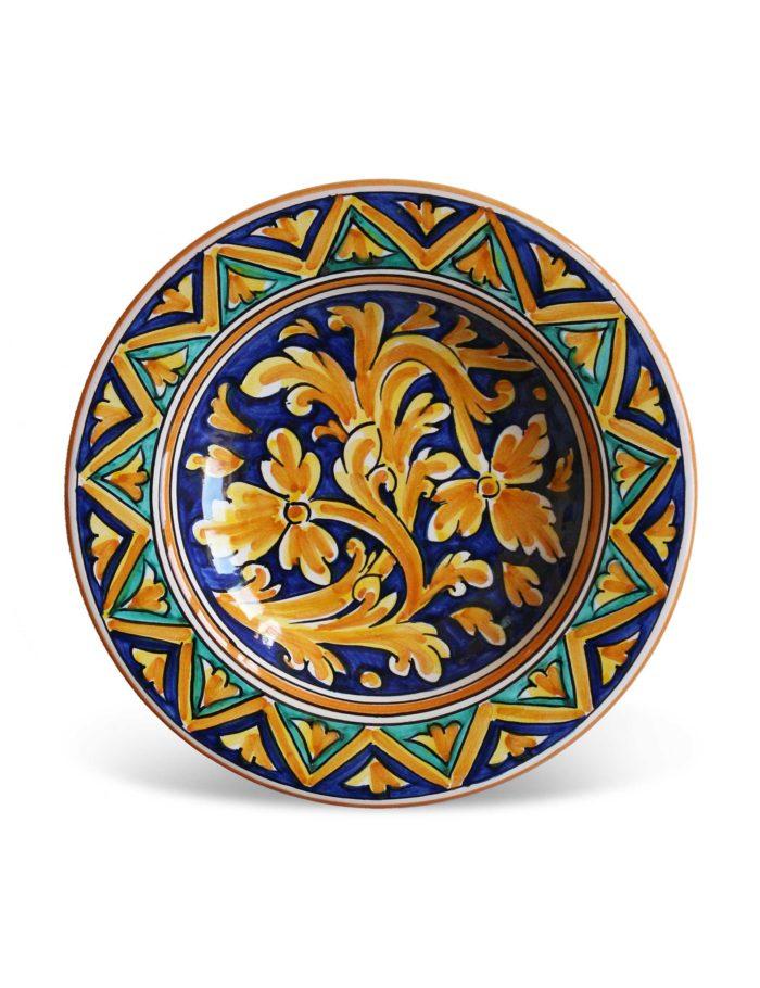 piatto fondo ceramica siciliana decorata partanna