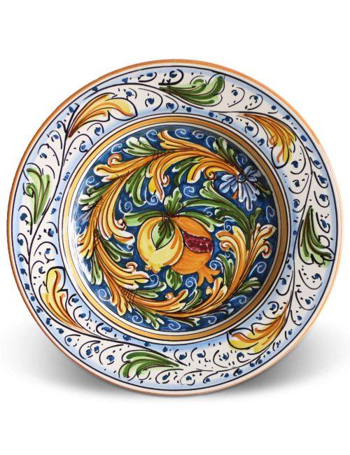 Piatto piano ceramica siciliana Sutera