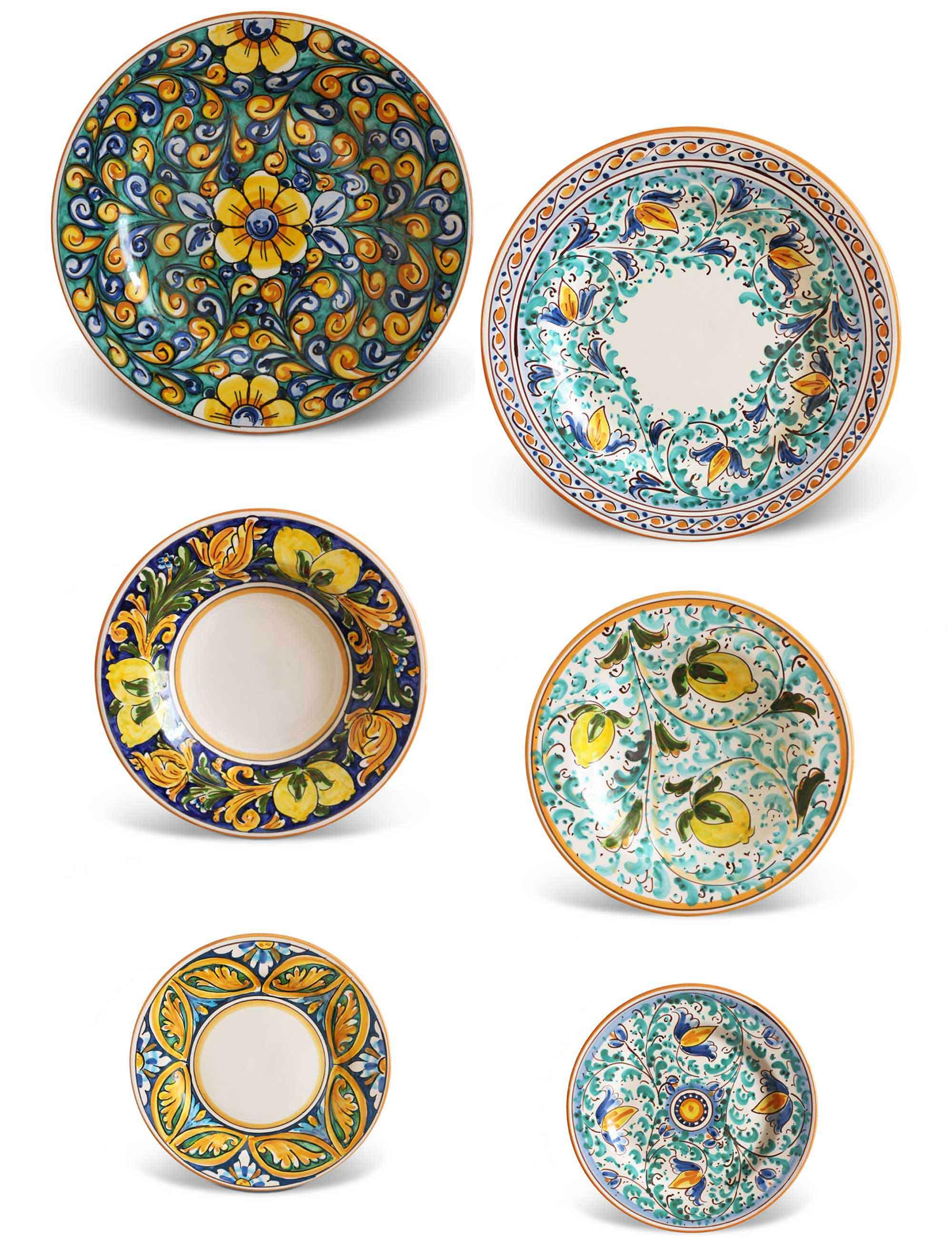 Piatti Ceramica Di Caltagirone.Piatti Ceramica Decorata Caltagirone Set 36 Pezzi Ficu