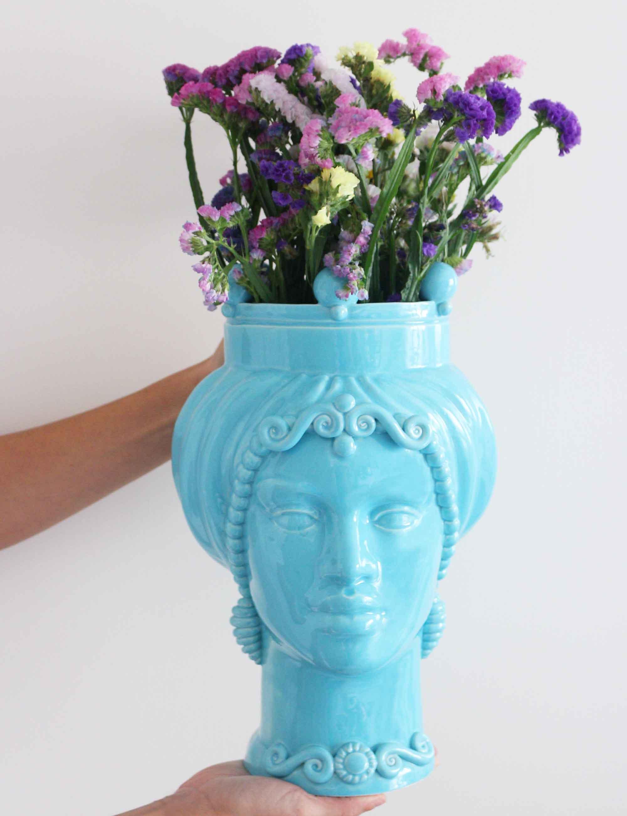 Sicilian Caltagirone ceramic light blue moor's heads
