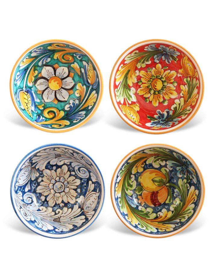 Set 4 coppe ceramica decorata-Ferla