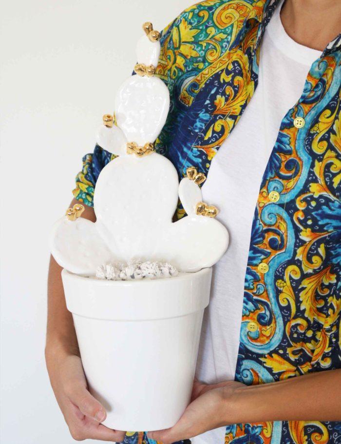 Fico d'India vaso arredo siciliano in ceramica di Caltagirone