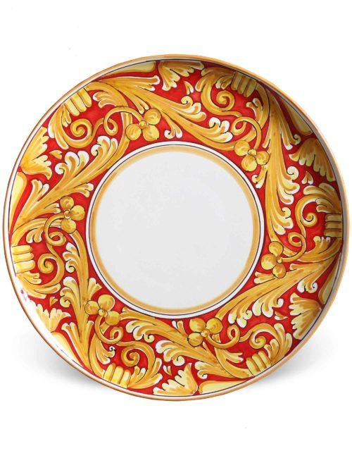 Piatto da portata rotondo in ceramica decorata Caltagirone