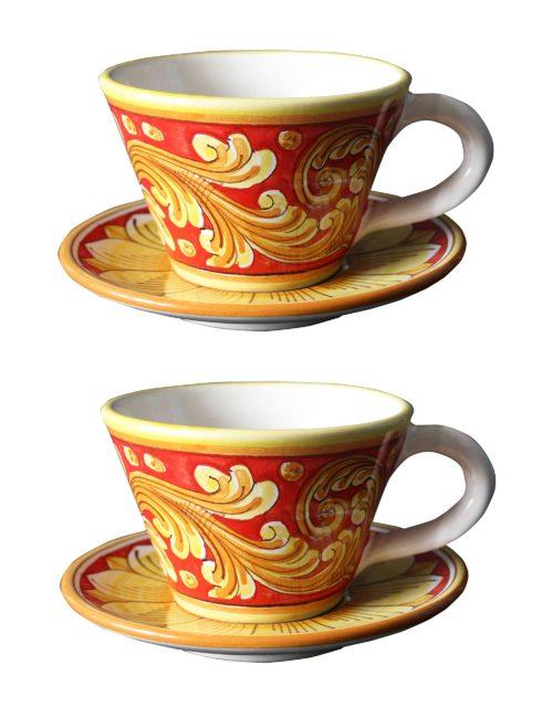 Set 2 tazze con piattino ceramica decorata Caltagirone - Cammarata