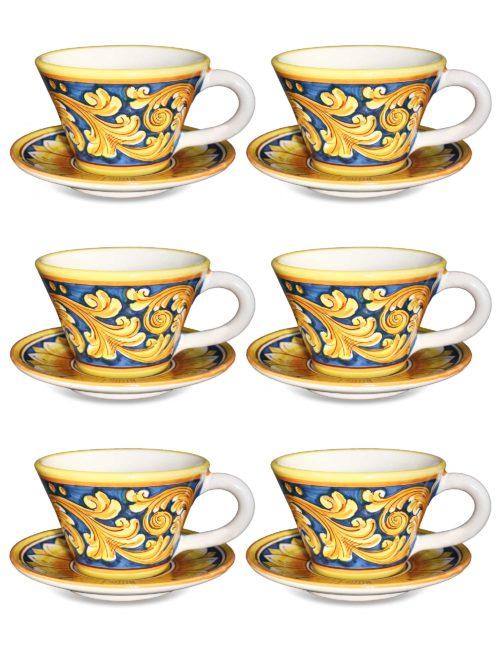 Set 6 tazze con piattino in ceramica decorata Caltagirone - Agrigento