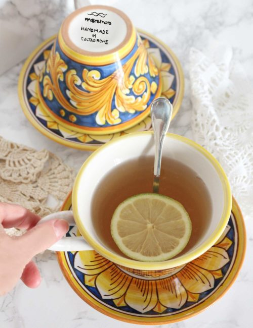 tazza ceramica Caltagirone decorata