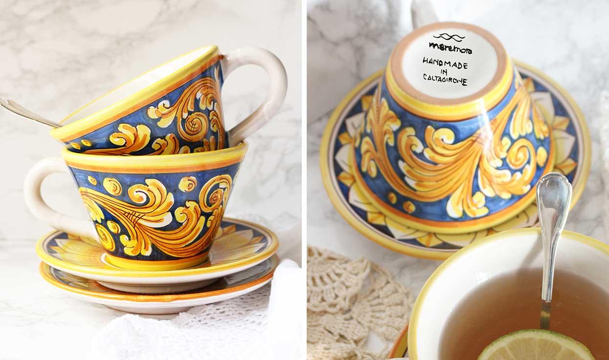 Tazze con piattini ceramica decorata Maremoro