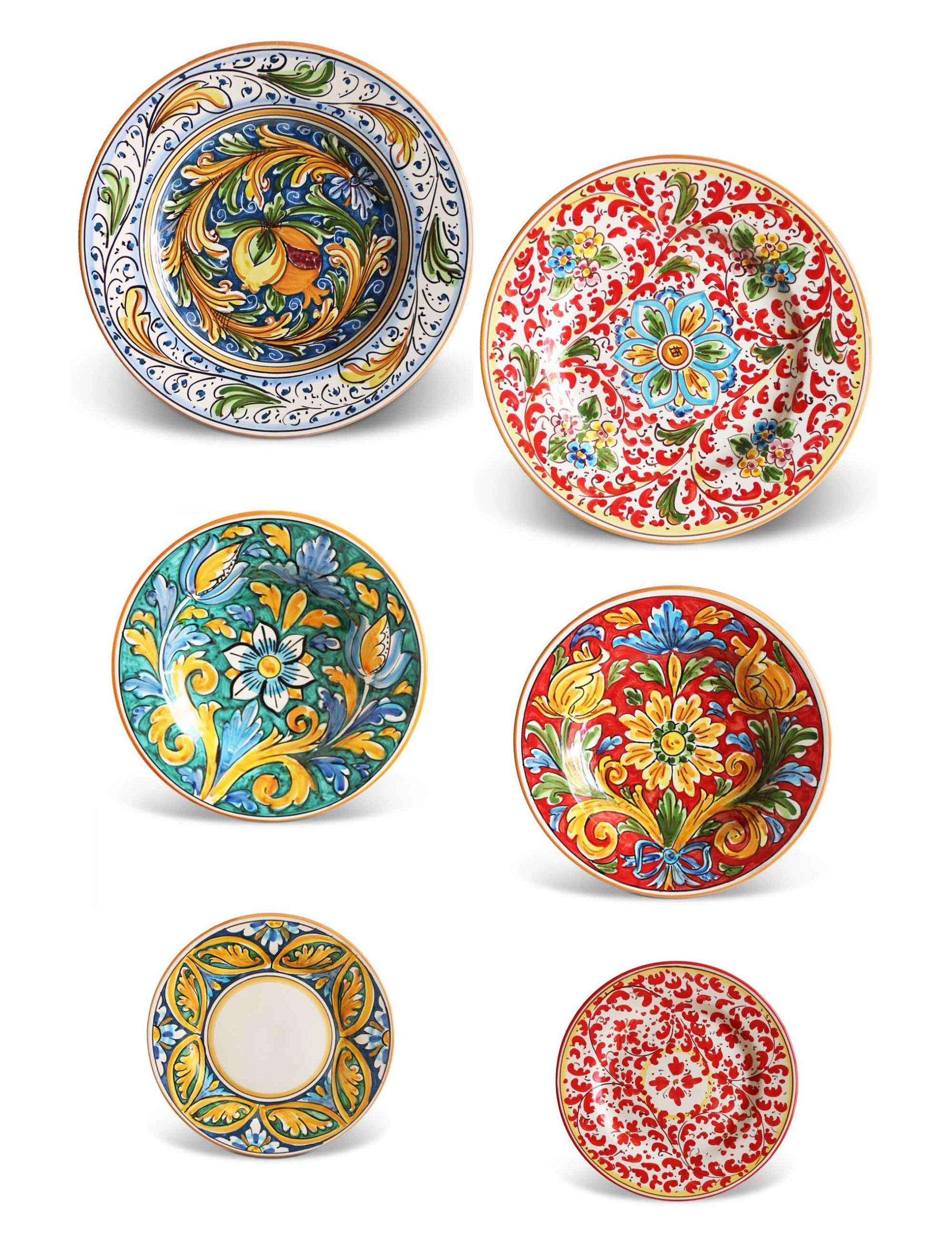 Piatti ceramica Caltagirone–Set 12 pezzi–PERSICU