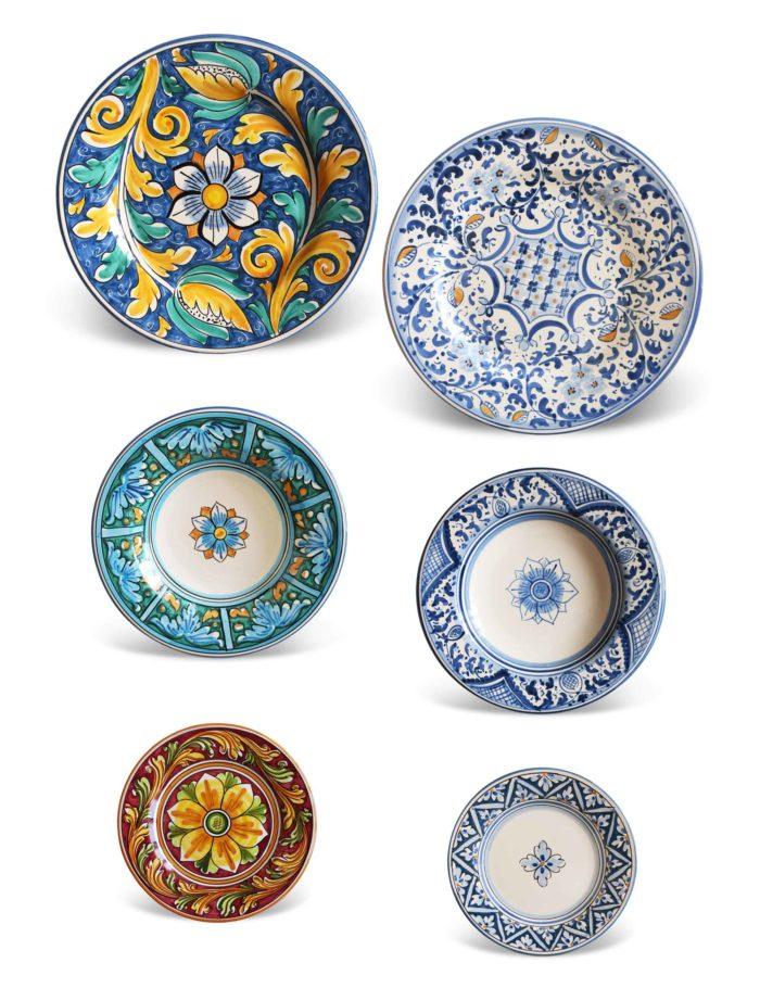 Piatti ceramica Caltagirone–Set 24 pezzi–RICORDIU