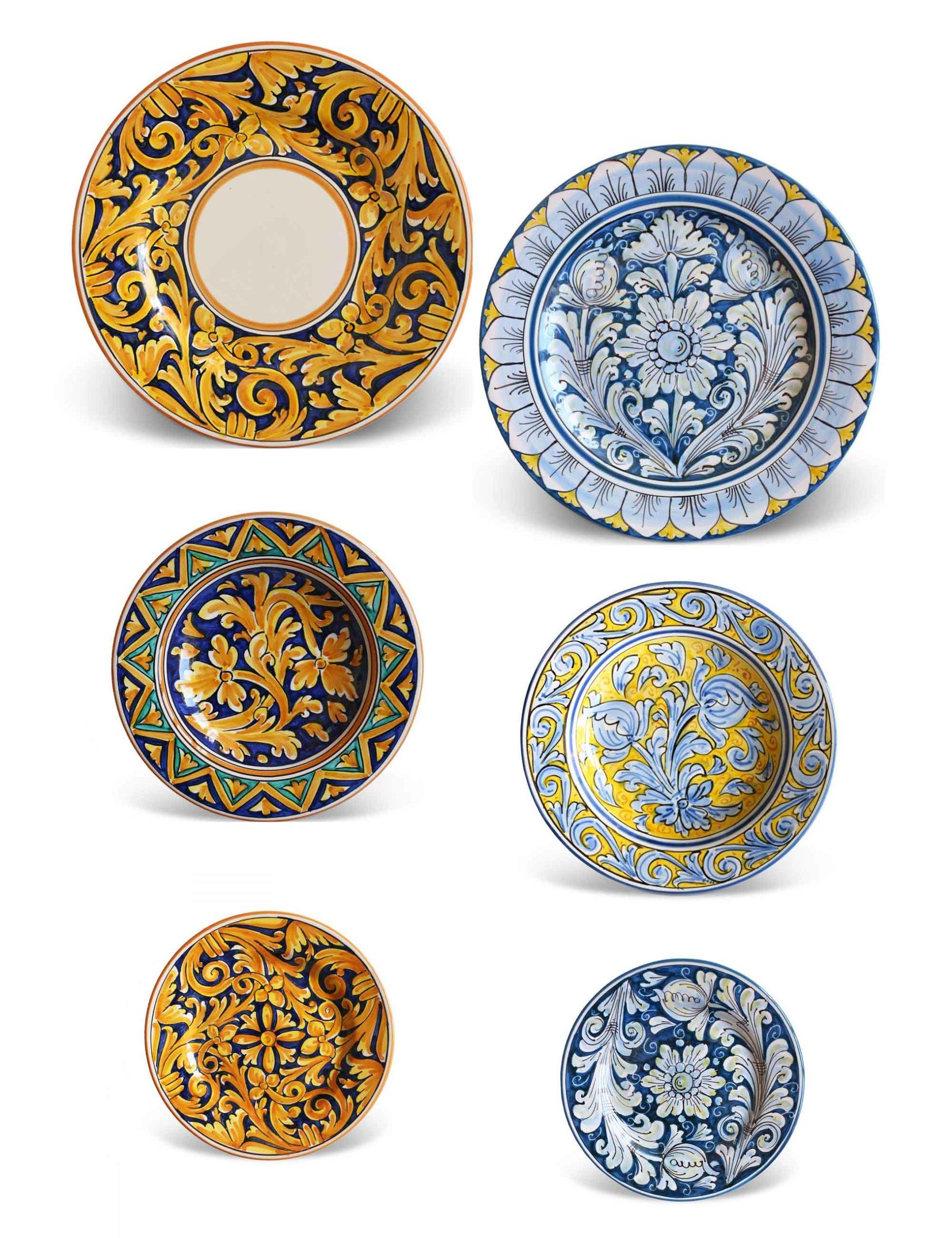 Piatti ceramica Caltagirone–Set 6 pezzi–ZUCCURU